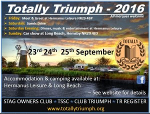 Start Your Engines For Totally Triumph 2016 in Hemsby